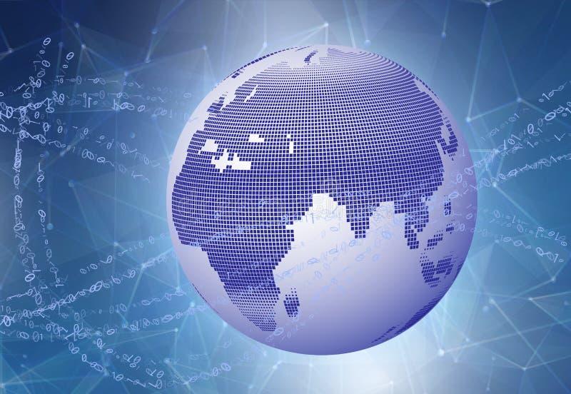 Concetto del Internet del commercio globale Globo, linee d'ardore su fondo tecnologico Dati binari che accelerano intorno al illustrazione di stock