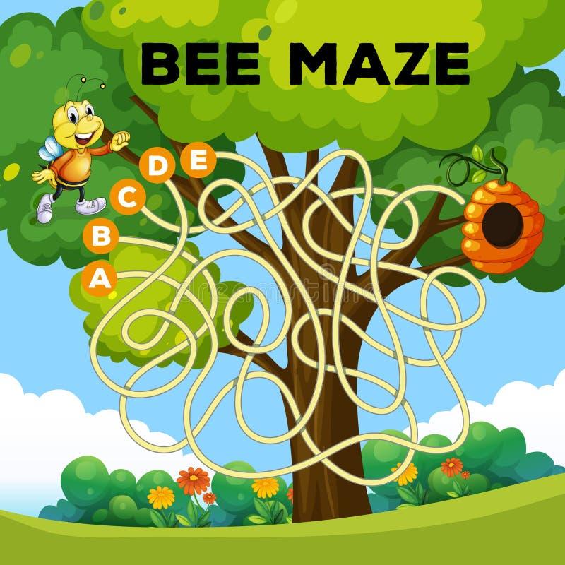 Concetto del labirinto dell'ape di divertimento illustrazione di stock
