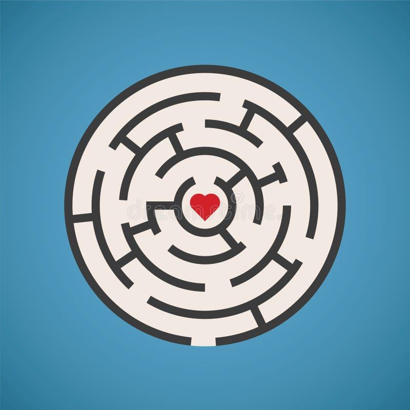 Concetto del labirinto di forma del cuore di vettore illustrazione di stock