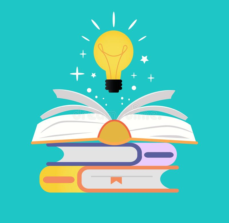 Concetto del libro aperto con la lampadina illustrazione di stock