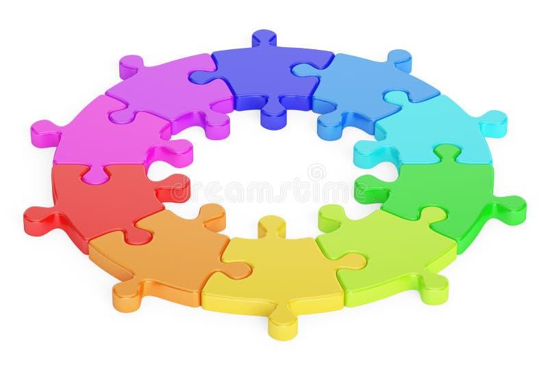 Concetto del logotype di affari Il puzzle multicolore del cerchio, 3D rende illustrazione vettoriale