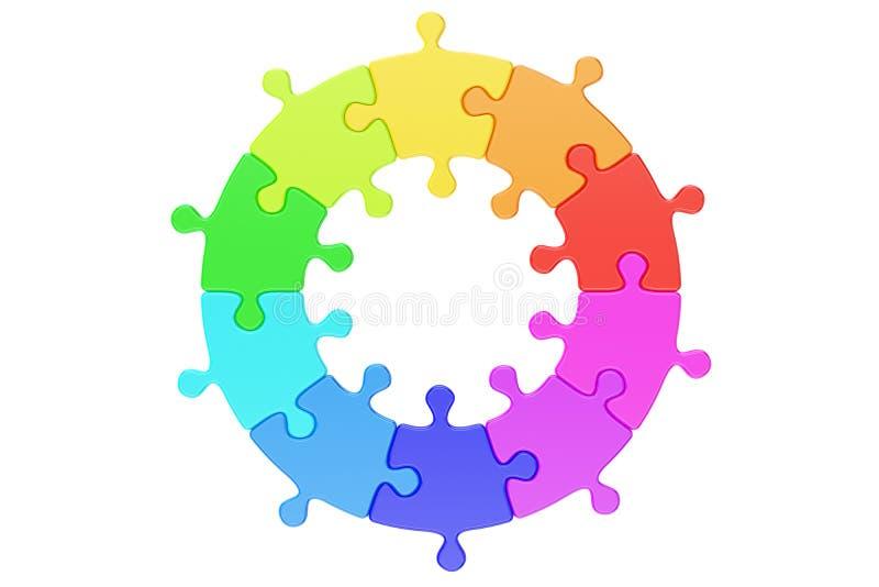 Concetto del logotype di affari Il puzzle multicolore del cerchio, 3D rende royalty illustrazione gratis