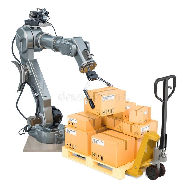 Concetto del magazzino automatico Il braccio robot ha messo le scatole di cartone sul camion di pallet rappresentazione 3d royalty illustrazione gratis