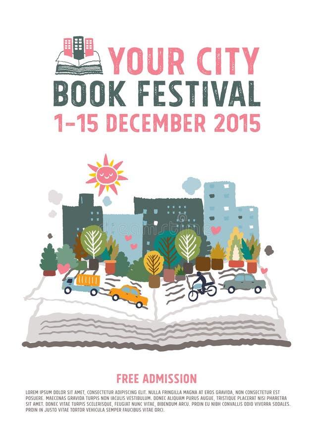Concetto del manifesto di festival del libro fotografia stock libera da diritti