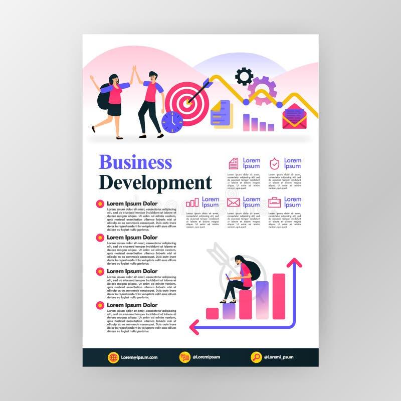 Concetto del manifesto di sviluppo di affari profitti di aumento in compagnia dell'illustrazione piana del fumetto di vettore Br  illustrazione di stock