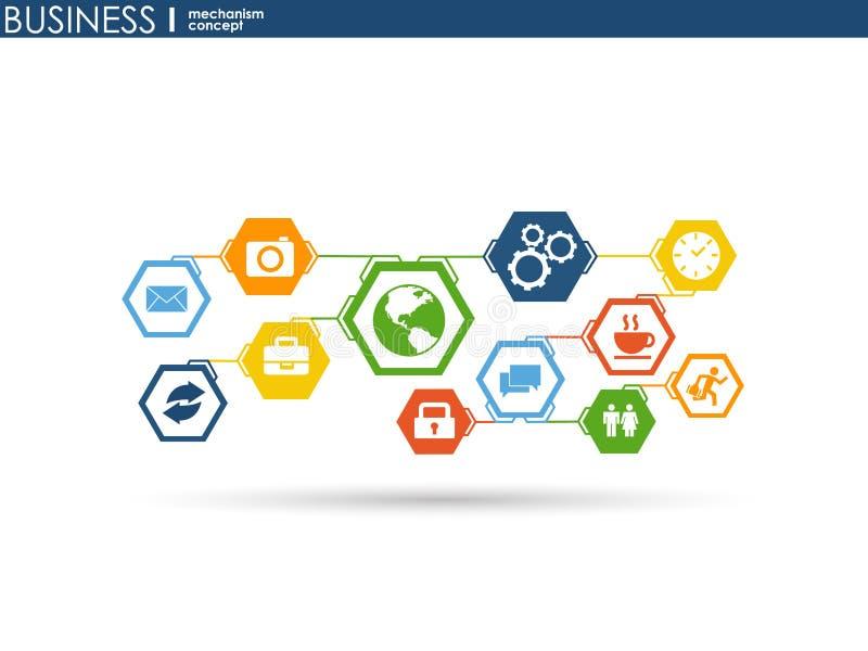 Concetto del meccanismo di affari Fondo astratto con gli ingranaggi e le icone collegati per strategia, servizio, analisi dei dat illustrazione di stock