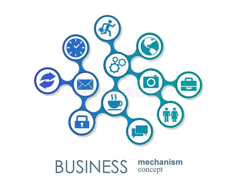 Concetto del meccanismo di affari Fondo astratto con gli ingranaggi e le icone collegati per strategia, servizio, analisi dei dat royalty illustrazione gratis