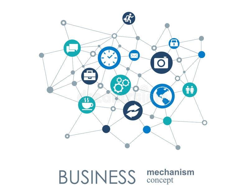 Concetto del meccanismo di affari Fondo astratto con gli ingranaggi e le icone collegati per strategia, servizio, analisi dei dat illustrazione vettoriale