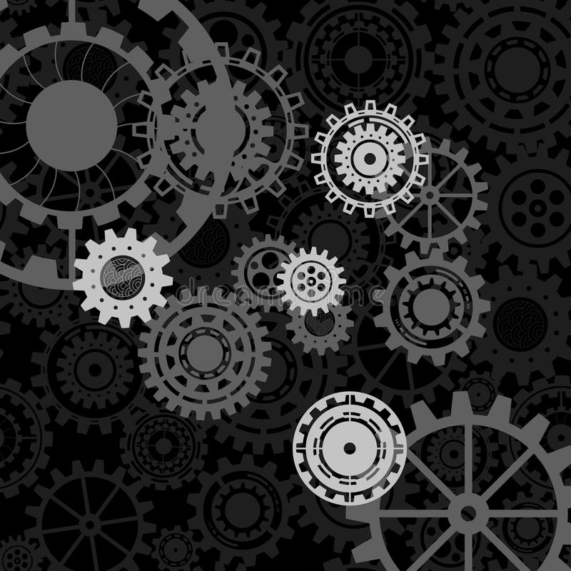 Concetto del meccanismo di affari Il ¡ di Ð onnected gli ingranaggi e le icone per servizio di strategia illustrazione vettoriale