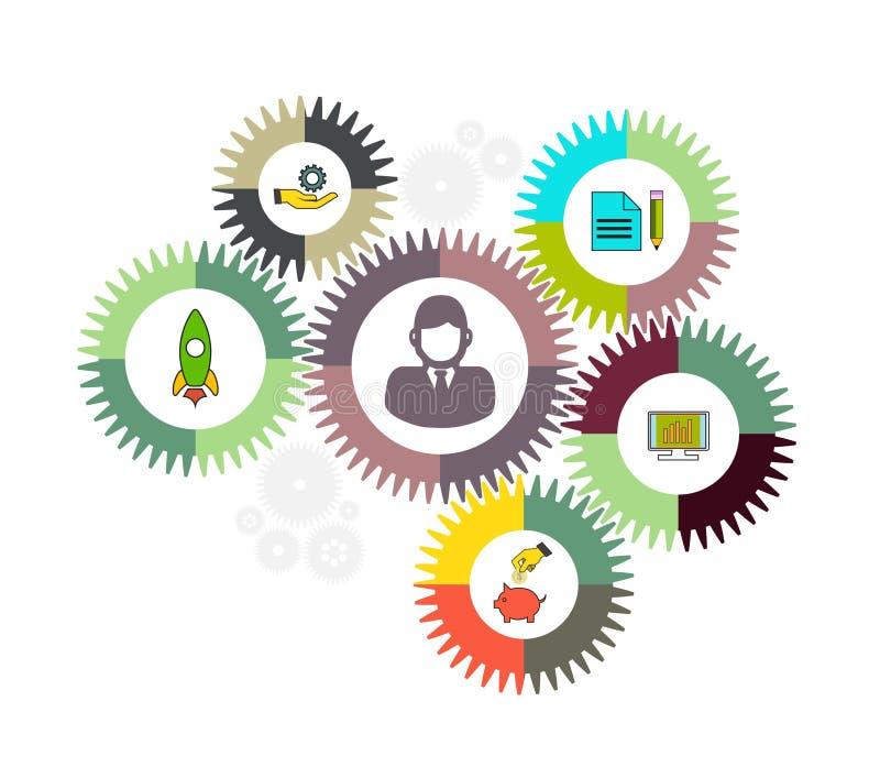 Concetto del meccanismo di affari sottragga la priorità bassa Illustrazione infographic di vettore illustrazione di stock