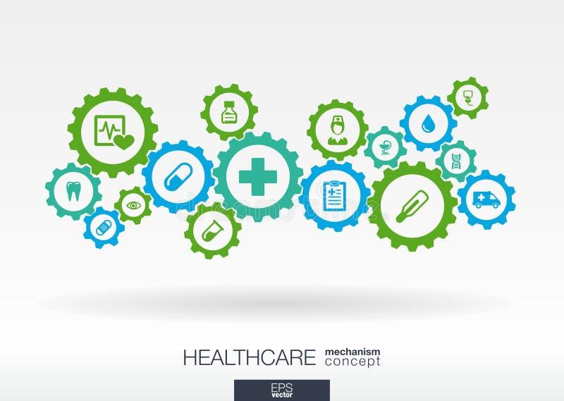Concetto del meccanismo di sanità Fondo astratto con gli ingranaggi e le icone collegati per medico, salute, cura, medicina illustrazione vettoriale