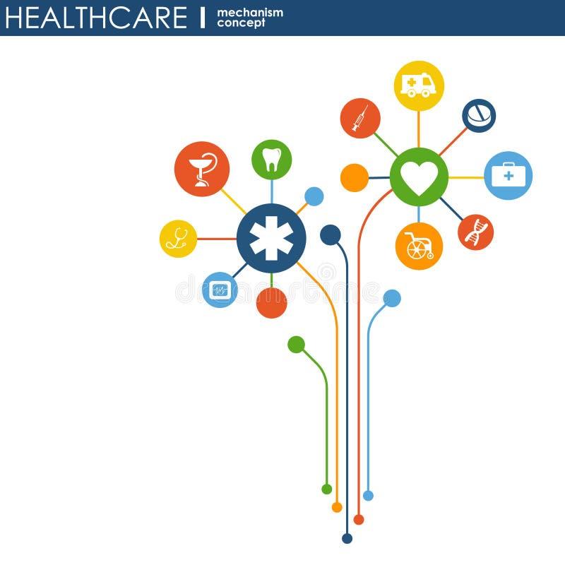 Concetto del meccanismo di sanità Fondo astratto con gli ingranaggi e le icone collegati per medico, salute, strategia, cura, med royalty illustrazione gratis