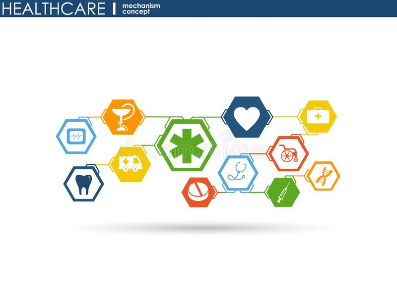 Concetto del meccanismo di sanità Fondo astratto con gli ingranaggi e le icone collegati per medico, salute, strategia, cura, med illustrazione di stock