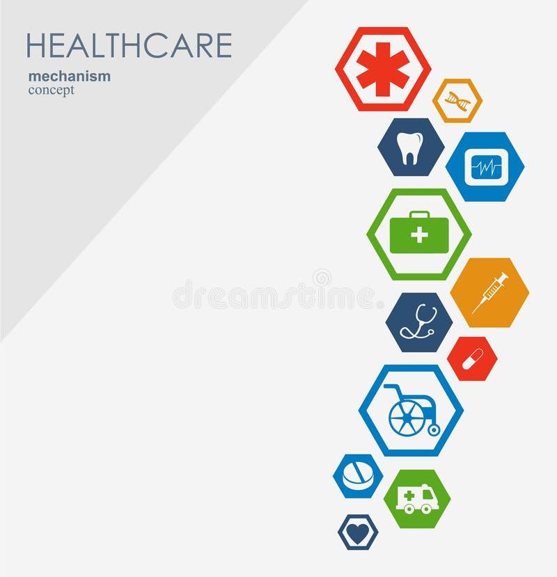 Concetto del meccanismo di sanità Fondo astratto con gli ingranaggi e le icone collegati per medico, strategia, salute, cura illustrazione di stock