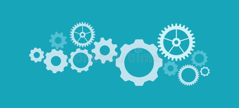 Concetto del meccanismo di tecnologia Il fondo astratto con gli ingranaggi e le icone integrati per digitale, Internet, la rete,  illustrazione vettoriale