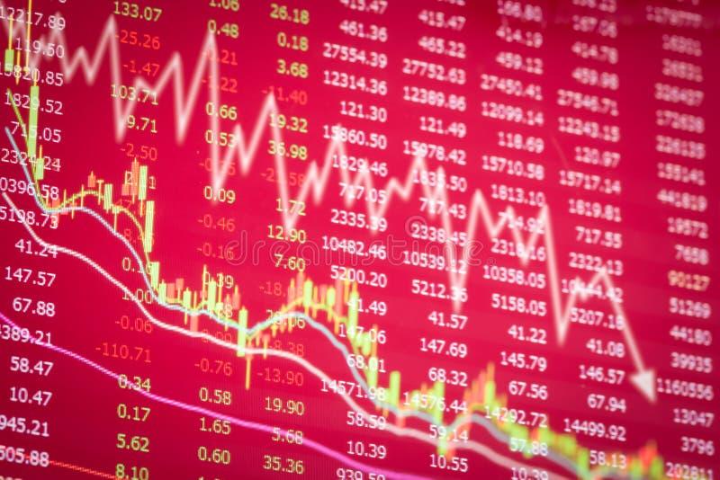 Concetto del mercato azionario di crisi, diminuzione del grafico rosso immagine stock