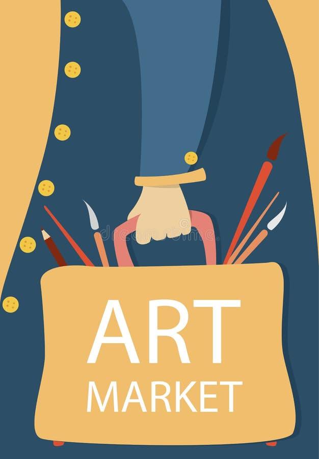 Concetto del mercato di arte Artista del fumetto con la borsa con le spazzole Manifesto piano variopinto Vettore illustrazione vettoriale