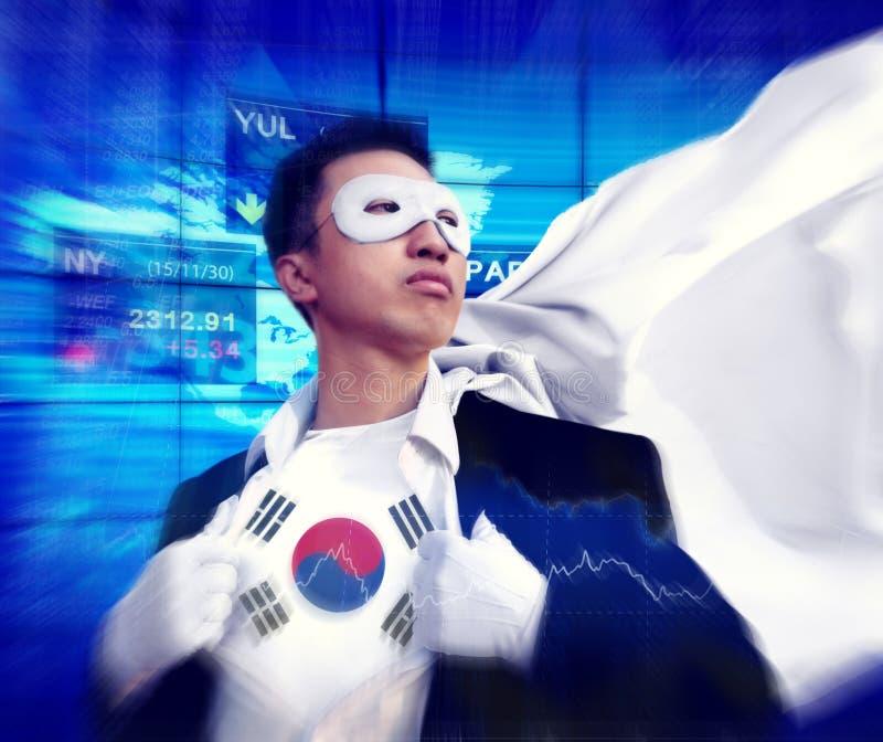Concetto del mercato di South Korea Stock dell'uomo d'affari del supereroe fotografia stock libera da diritti