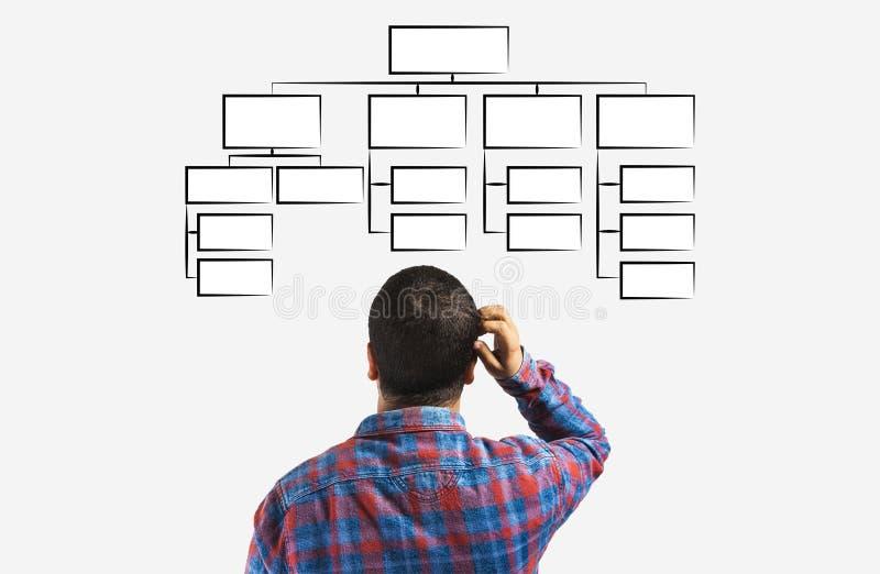 concetto del mindmap, uomo di affari che esamina lo schema della gerarchia, gestione dell'organizzazione illustrazione di stock