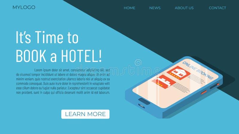 Concetto del modello di prenotazione di hotel illustrazione di stock