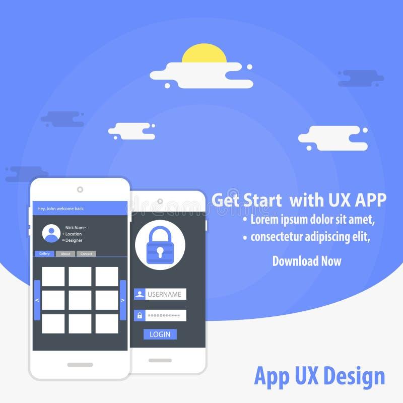 Concetto del modello di vettore di progettazione di App UX del cellulare royalty illustrazione gratis