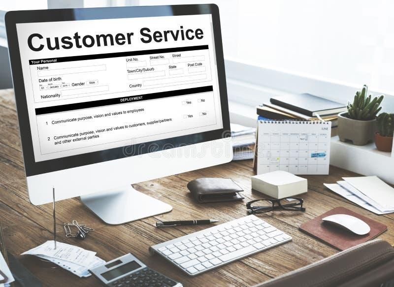Concetto del modulo di domanda di caratteristiche di funzionamento di servizio di assistenza al cliente immagine stock libera da diritti