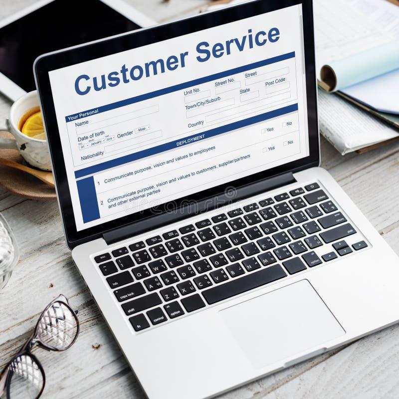 Concetto del modulo di domanda di caratteristiche di funzionamento di servizio di assistenza al cliente fotografia stock