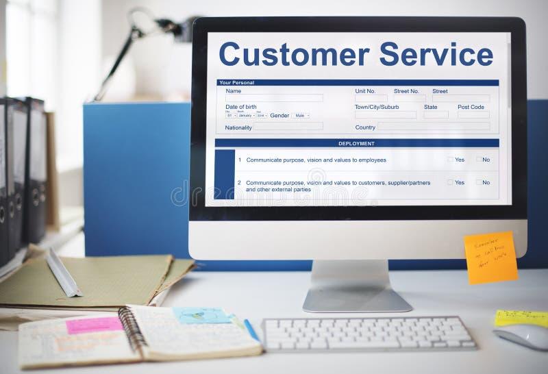 Concetto del modulo di domanda di caratteristiche di funzionamento di servizio di assistenza al cliente immagine stock