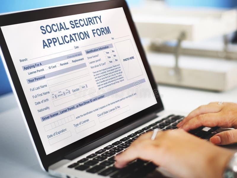 Concetto del modulo di domanda di sicurezza sociale fotografia stock libera da diritti