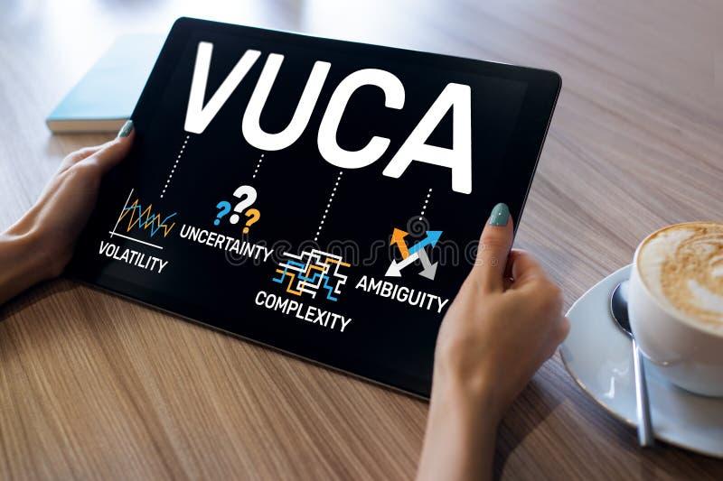 Concetto del mondo di VUCA sullo schermo Volatilità, incertezza, complessità, ambiguità immagini stock