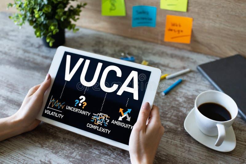 Concetto del mondo di VUCA sullo schermo Volatilità, incertezza, complessità, ambiguità fotografia stock libera da diritti