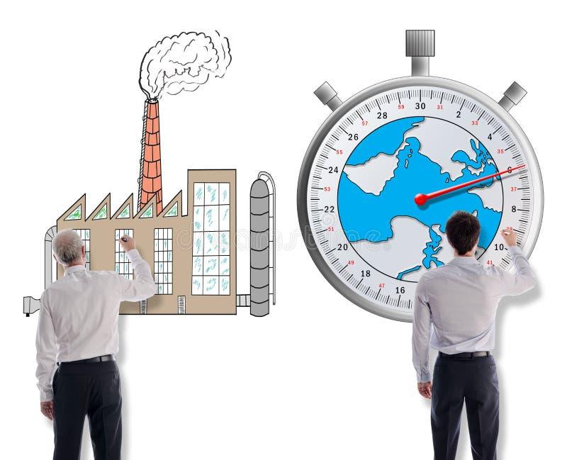 Concetto del mutamento climatico disegnato dagli uomini d'affari illustrazione di stock