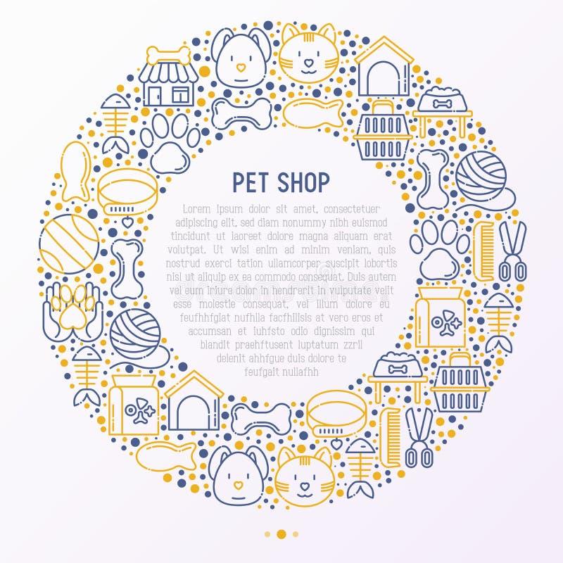 Concetto del negozio di animali nel cerchio con la linea sottile icone royalty illustrazione gratis