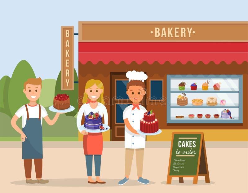 Concetto del negozio del forno Illustrazione piana di vettore illustrazione di stock