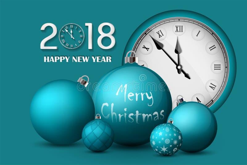 Concetto 2018 del nuovo anno e di natale Palle di natale del turchese con i supporti d'argento e l'orologio d'annata Insieme degl royalty illustrazione gratis
