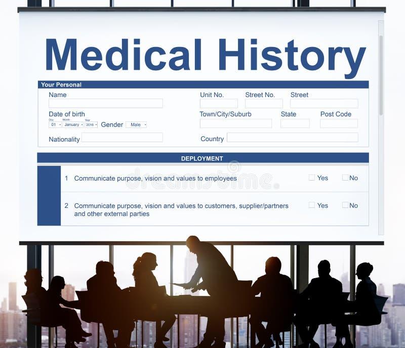Concetto del paziente di storia della forma dell'annotazione di perizia medica immagini stock libere da diritti