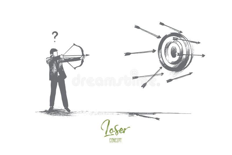 Concetto del perdente Vettore isolato disegnato a mano illustrazione di stock