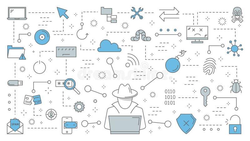 Concetto del pirata informatico La spia cyber ruba i dati digitali royalty illustrazione gratis