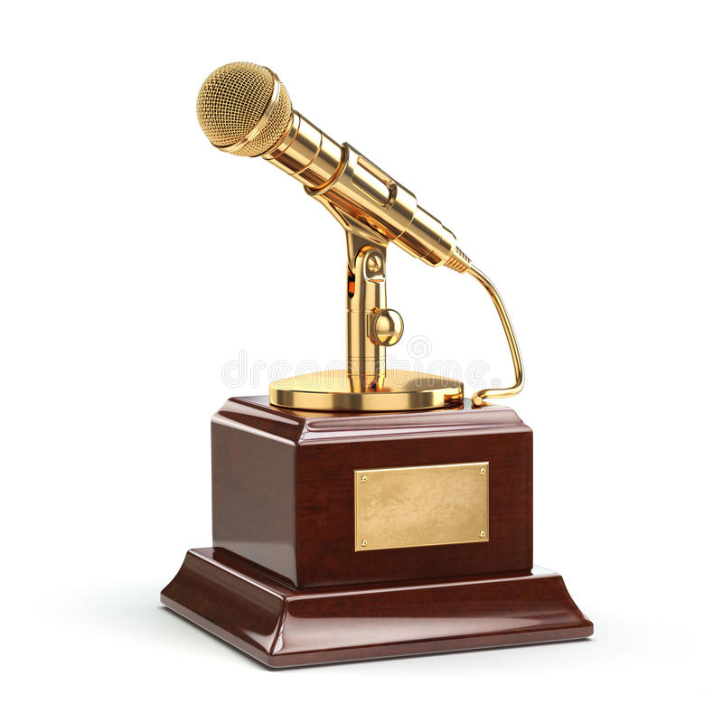 Concetto del premio di giornalismo o di musica Microfono dell'oro isolato illustrazione di stock