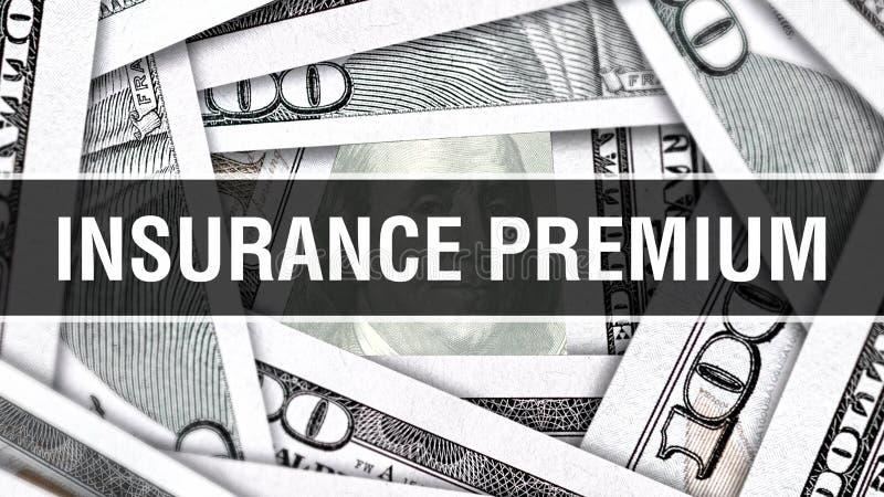 Concetto del primo piano di premio assicurativo Dollari americani di denaro contante, rappresentazione 3D Premio assicurativo all illustrazione di stock