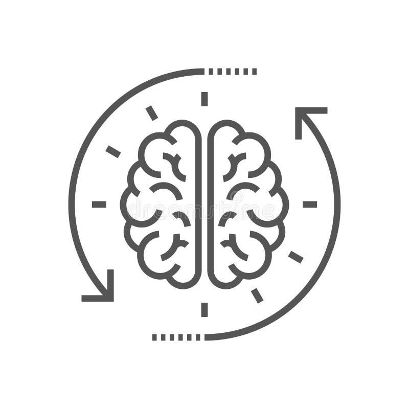 Concetto del processo di pensiero, 'brainstorming', buona idea, attivit? di cervello, comprensione Linea piana illustrazione dell royalty illustrazione gratis