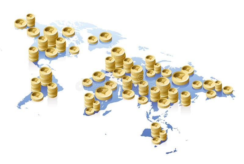 Concetto del programma e dei soldi di mondo royalty illustrazione gratis
