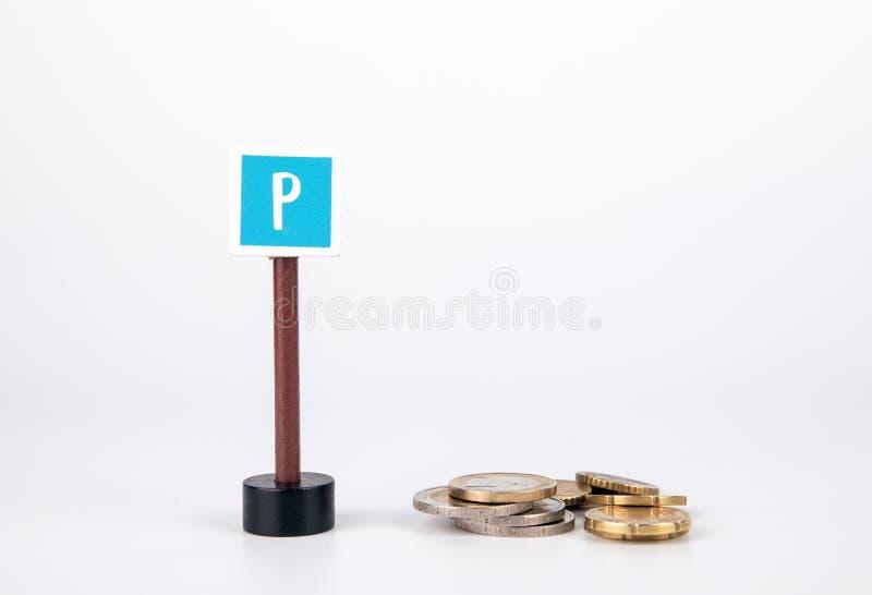 Concetto del punteggio di credito Segno del parcheggio fotografia stock libera da diritti