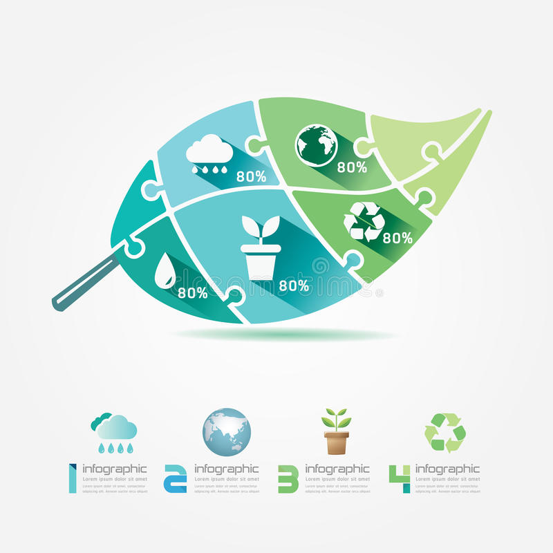 Concetto del puzzle di Infographic di ecologia degli elementi di progettazione delle foglie verdi. royalty illustrazione gratis