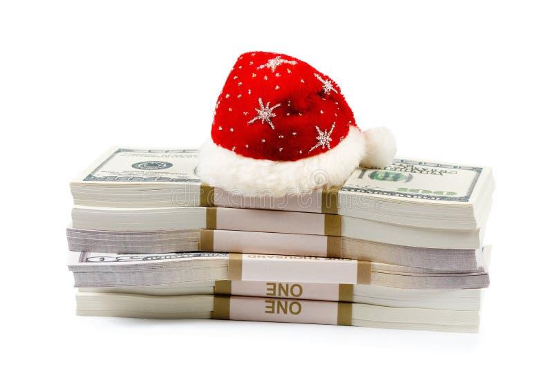 Concetto del regalo di Natale con soldi isolati su bianco immagini stock