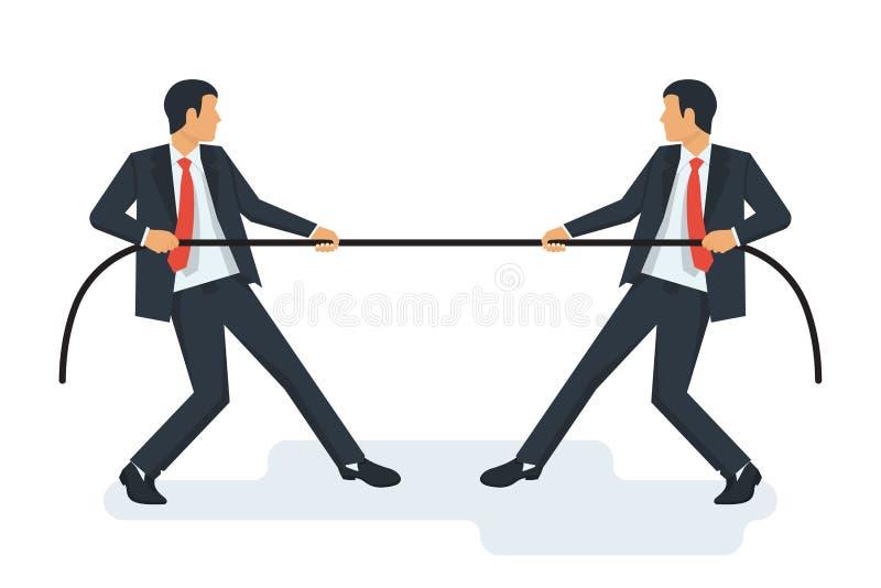Concetto del rimorchiatore Due uomini d'affari in vestiti tirano la corda illustrazione di stock