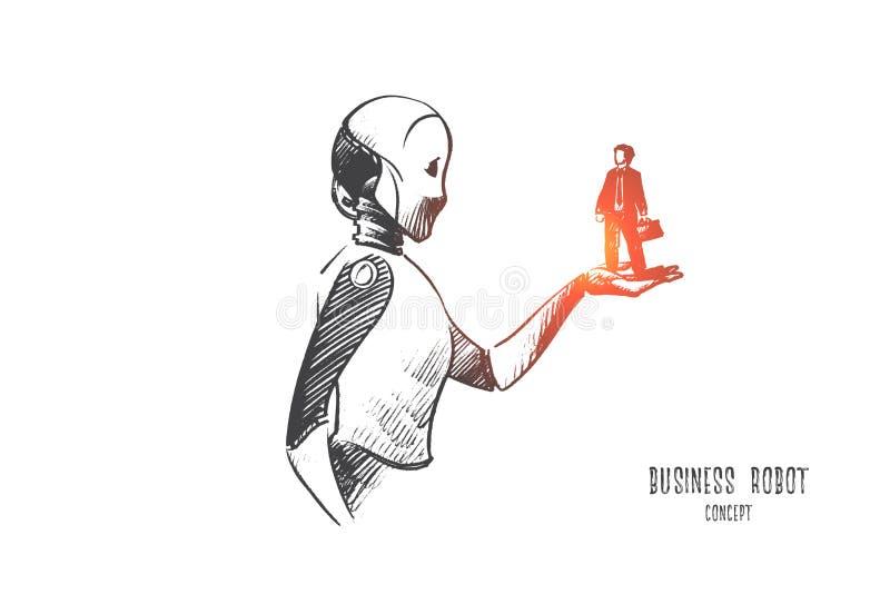Concetto del robot di affari Vettore isolato disegnato a mano royalty illustrazione gratis