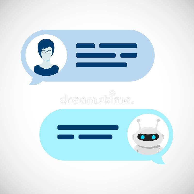 Concetto del robot di Chatbot Servizio di aiuto di dialogo Messaggi di discorso del bot e dell'utente Illustrazione di vettore royalty illustrazione gratis