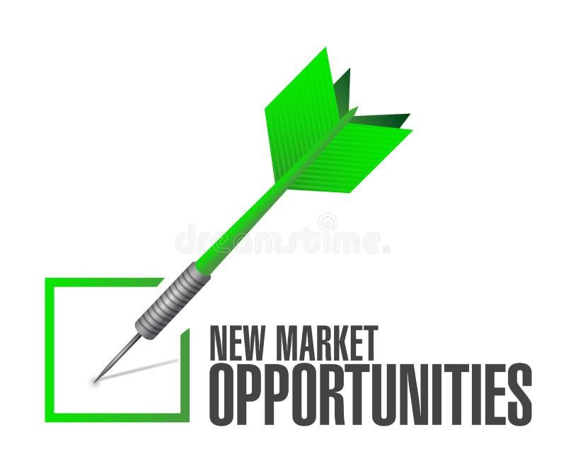Concetto del segno di approvazione di opportunità di nuovo mercato illustrazione vettoriale