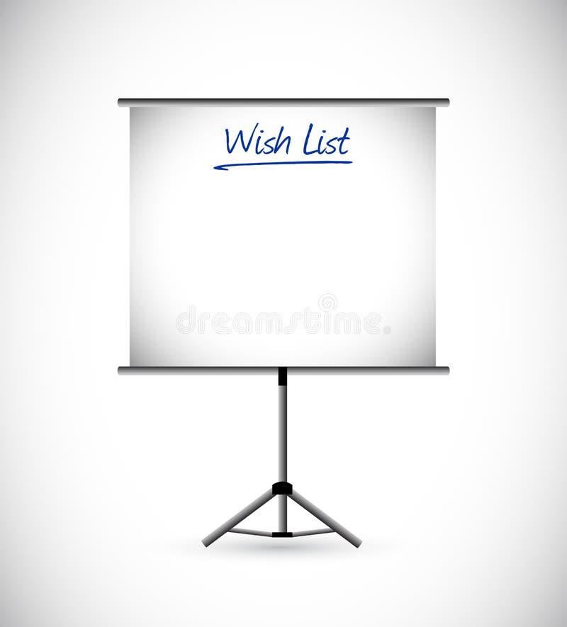 concetto del segno di presentazione della lista di obiettivi illustrazione vettoriale